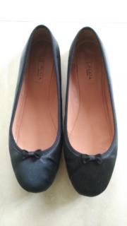 Alaia ALA�A BLACK SATIN Ballerina ballet Flats shoes sz36 UK3.5