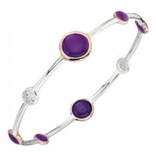 Elements Silver Rose Gold and Purple Agate Bracelet