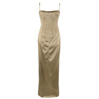 Dolce & Gabbana Crystal Neckline Gold Satin Boned Gown