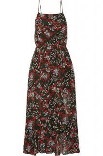 Maje Ruffle Chiffon Floral Print Dress