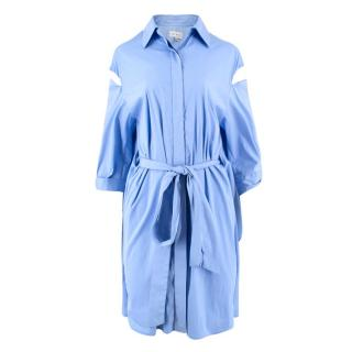 Milly Tie-Front Cut-Out Poplin Shirt Dress