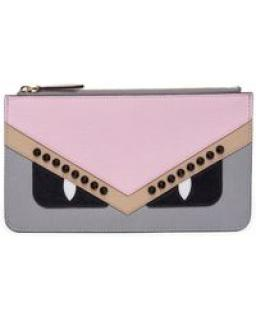 Fendi Monster Eyes Leather Zip Pouch