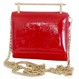 M2Malletier red patent glitter leather wallet on chain