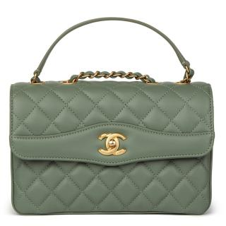 Chanel Green Quilted Lambskin Coco Vintage Flap Bag