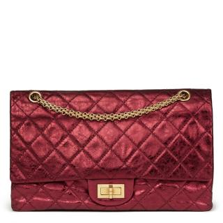 Chanel Red Metallic Aged Calfskin Leather 2.55 Reissue 227 Double Flap