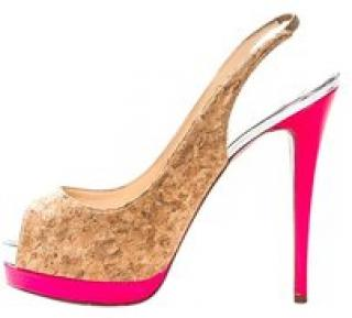 Christian Louboutin Cork and Hot Pink Sandals
