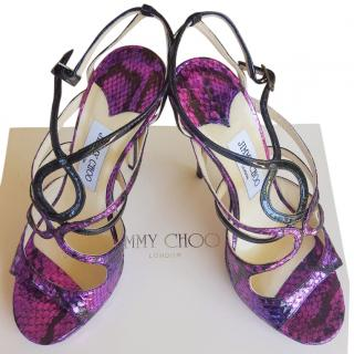 Jimmy Choo Fuchsia/Purple Heeled Strappy Sandals