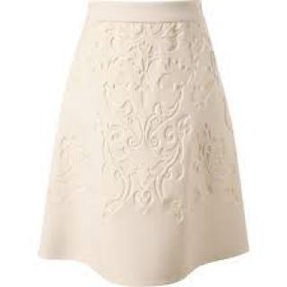 STELLA McCARTNEY damask pattern ivory wool skirt