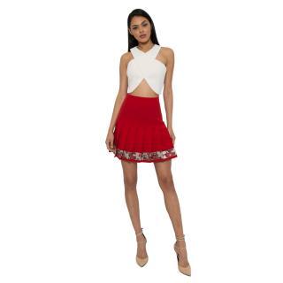 Dolce & Gabbana Wool Drop Waist Pleated Skirt