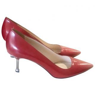 Prada red kitten heel pumps