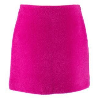 Helmut Lang Brushed Magenta 2000 Mini Wool & Silk Skirt