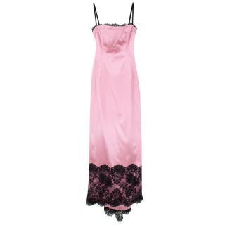 Dolce & Gabbana Pink Satin & Lace Gown