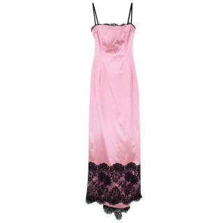 Dolce & Gabbana Pink Satin & Lace Gown