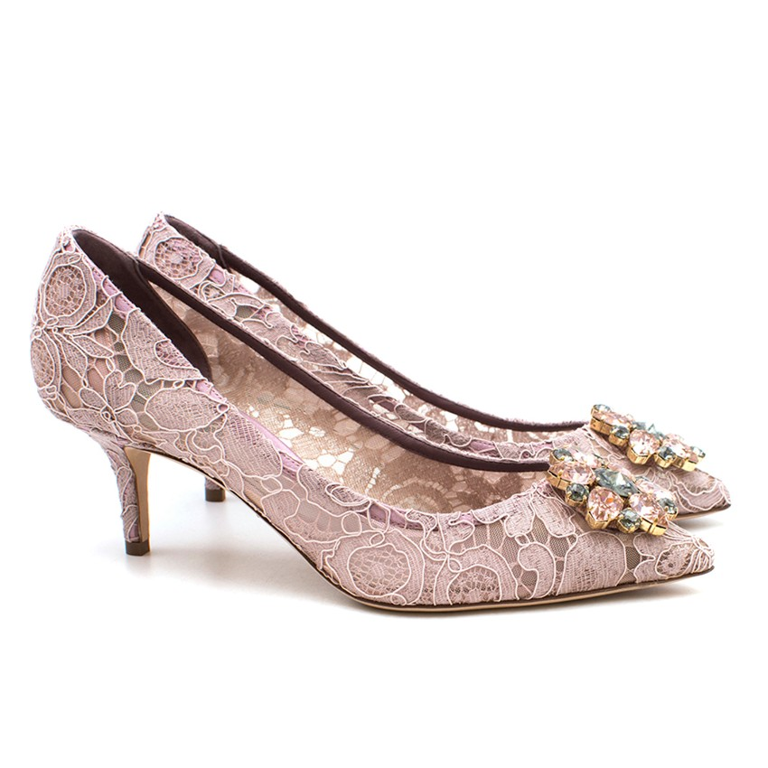 a915ea0f540 Dolce Gabbana Pink Lace Kitten Heeled Pumps