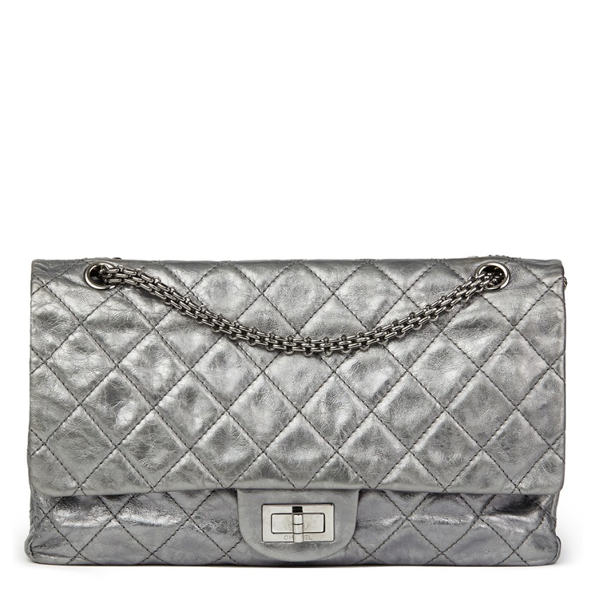 82405937ee2b Chanel Metallic Silver Aged Calfskin 2.55 Reissue 227 Double Flap Bag