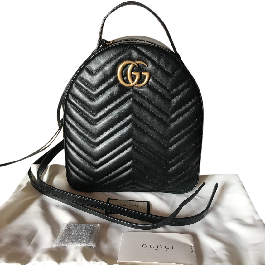 1c8d10dc45f9 Gucci Marmot Black Leather Backpack