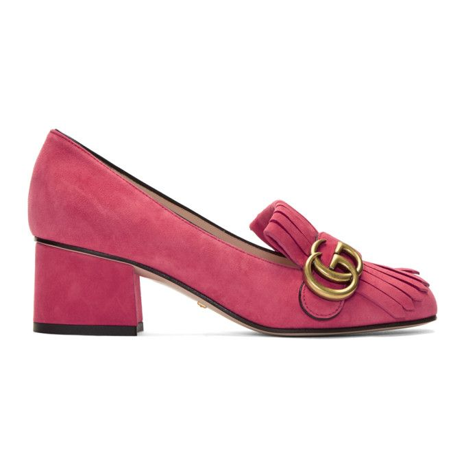 2c94890f79b Gucci Marmont Gg Pink Mid Heel Shoes