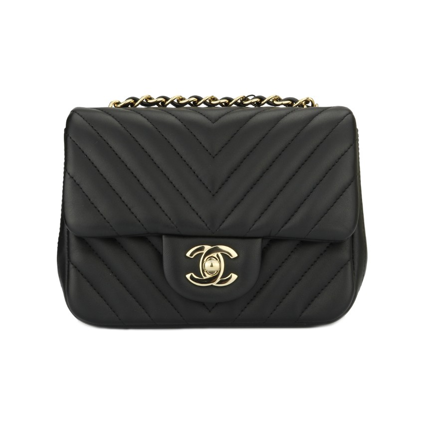 f12d75887ef5 Chanel Chevron Black Lambskin Square Mini Bag | HEWI London