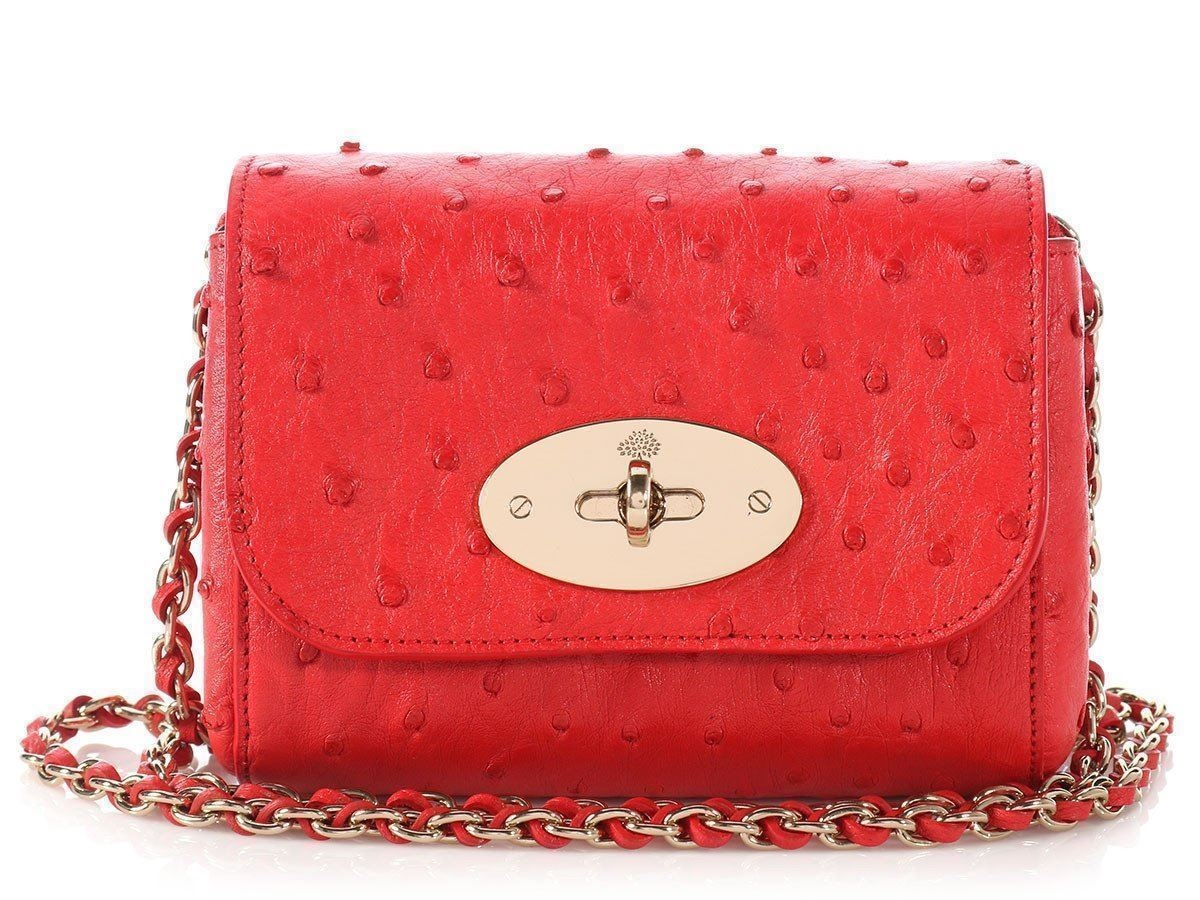 fc63c77bf3 Mulberry Mini Lily Red Ostrich Bag