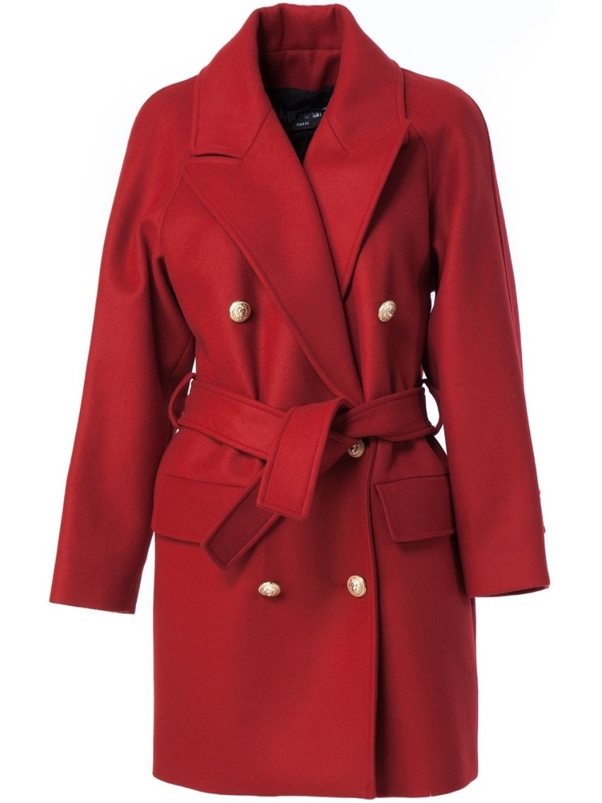 Balmain red wool double breasted coat
