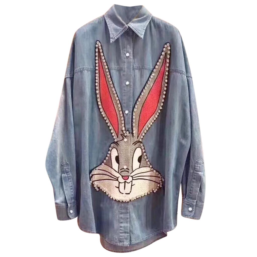 812bda27dde Gucci Bugs Bunny Embellished Denim Shirt