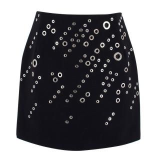 Mugler Eyelet Wool Skirt