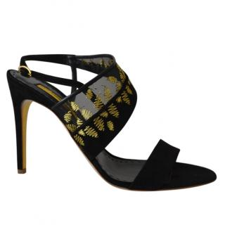 Rupert Sanderson Glamis Black Suede/Mesh High Heel Sandals