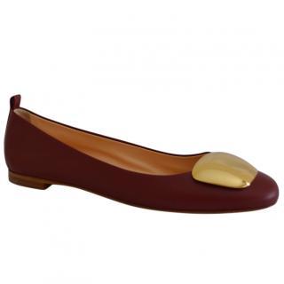 Rupert Sanderson Vedette Bordeaux Nappa Pebble Flat Shoes