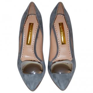 Rupert Sanderson Grey Suede Silver Pebble High Heel Pumps