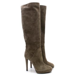Sergio Rossi Khaki Suede Knee High Heeled Boots