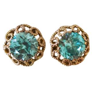 Bespoke 18ct Gold Blue Zircon Earrings