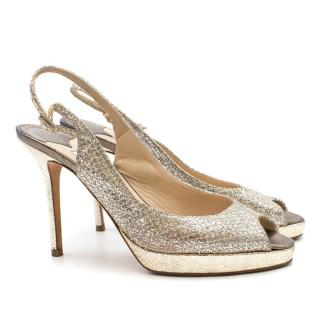 Jimmy Choo Nova 110 Glitter Peep-Toe Pumps