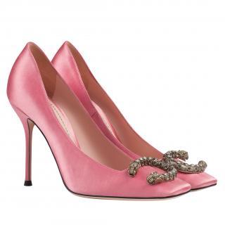 Gucci Pink Dionysus Satin Pumps