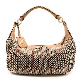 Diane von Furstenberg Sutra Knit Leather Hobo Bag