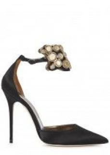 Manolo Blahnik Amatis Embellished Ankle-Wrap Pumps