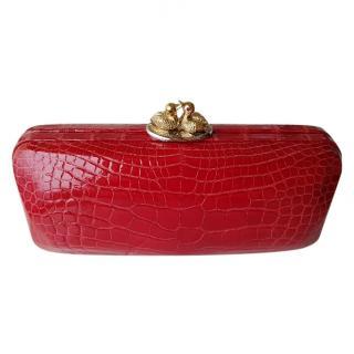 ETHAN K Red crocodile clutch