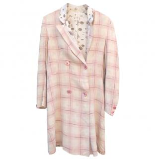 Voyage Longline Silk Pink Check Coat