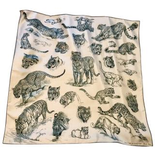 Hermes leopard and tiger print silk scarf