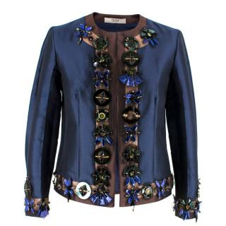 Prada Embellished Silk & Wool Jacket