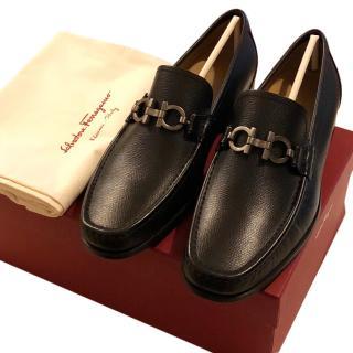 Salvatore Ferragamo men's black leather loafers