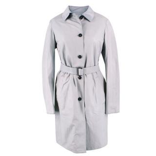 Jil Sander Grey Reversible leather trench coat