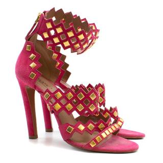 Alaia Studded Suede Heeled Sandals