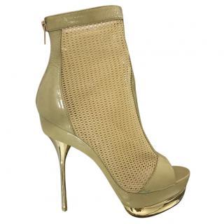 Emilio Pucci Mesh Peep-Toe Ankle Boots
