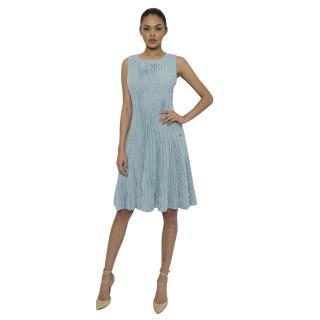 Chanel White and Blue Knit Skater Dress