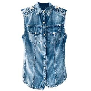 Balmain denim sleeveless vest shirt