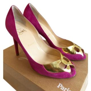 Christian Louboutin Pink and Gold Peeptoe Pumps