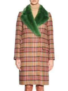 Shrimps Smith Tartan-check And Faux-fur Coat