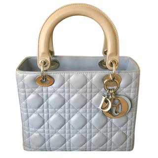 Christian Dior Light Blue and Grey Lady Dior Bag