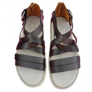 Buttero Black and Silver Sandals