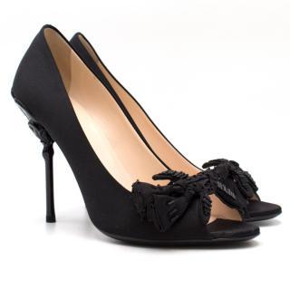 Prada black satin high heels